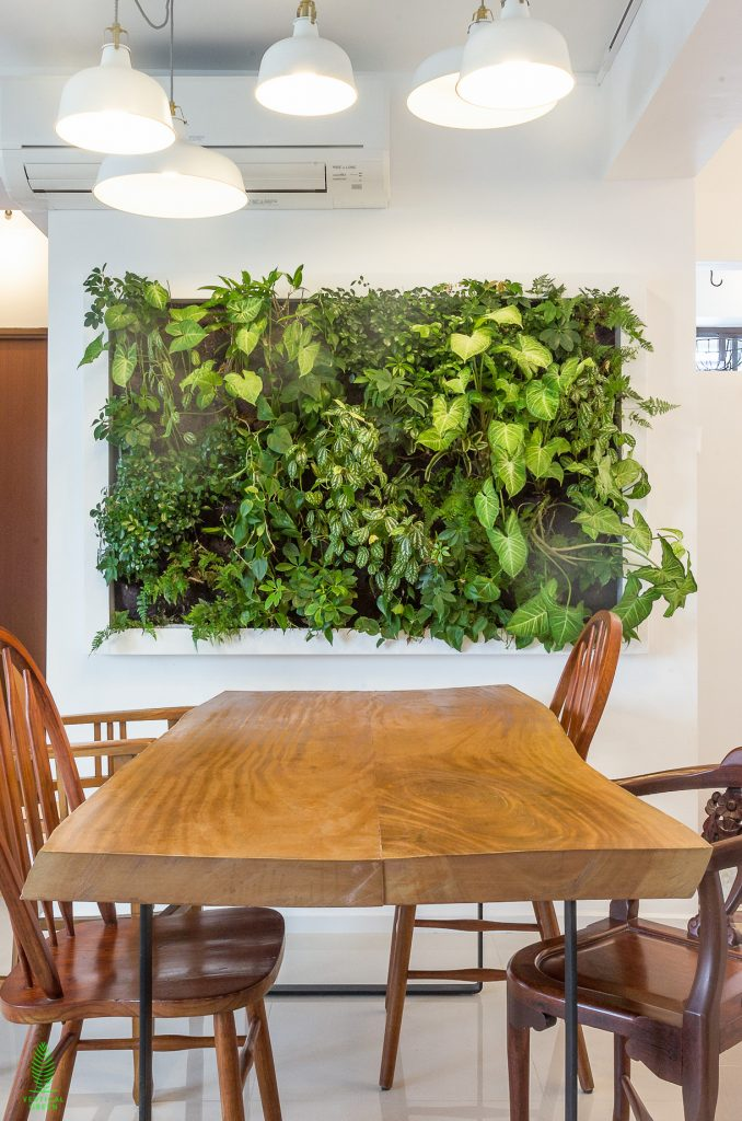 green wall home dining room singapore