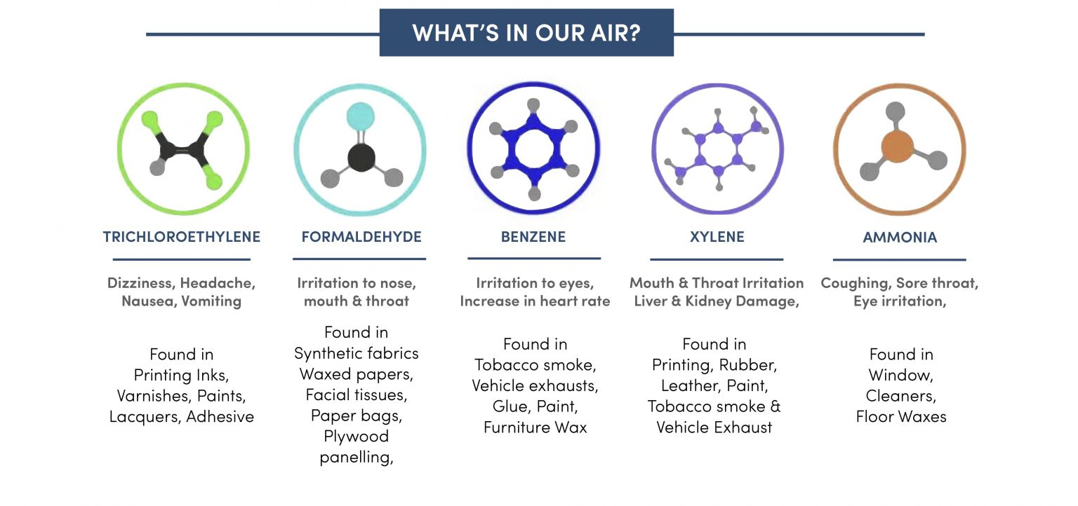 Indoor Air-borne toxins that can be filtered by plants