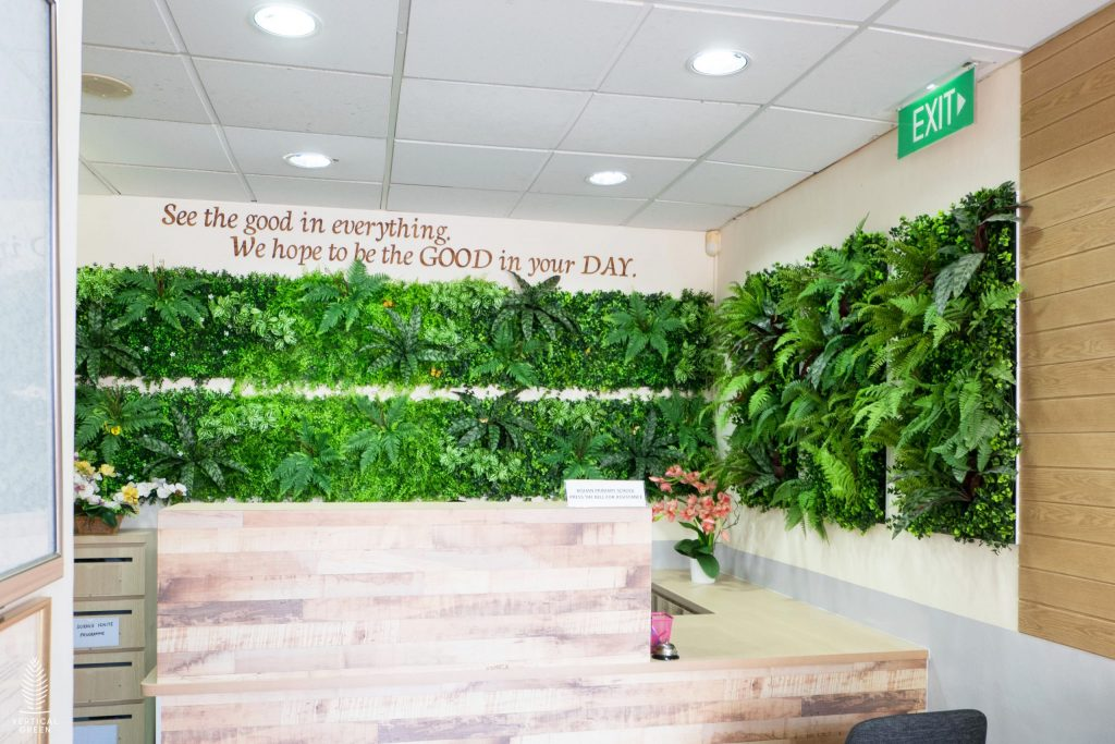 artificial green wall school singapore