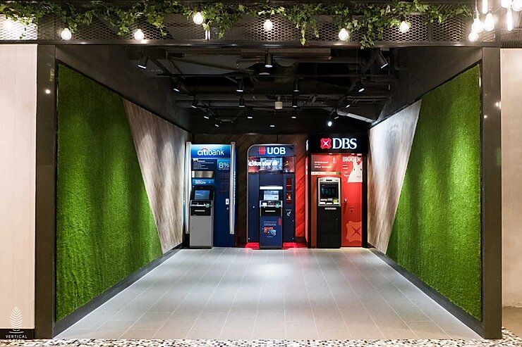 Artificial turf green wall carpet grass at Suntec City Singapore