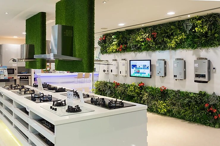 Artificial Green Wall at City Gas Showroom Singapore