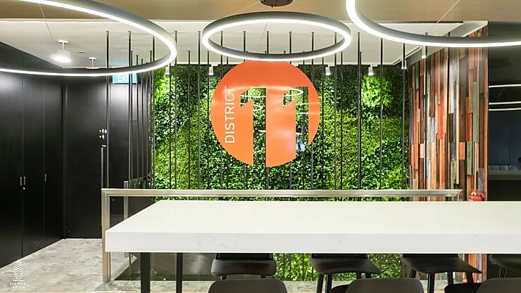 artificial green wall office singapore