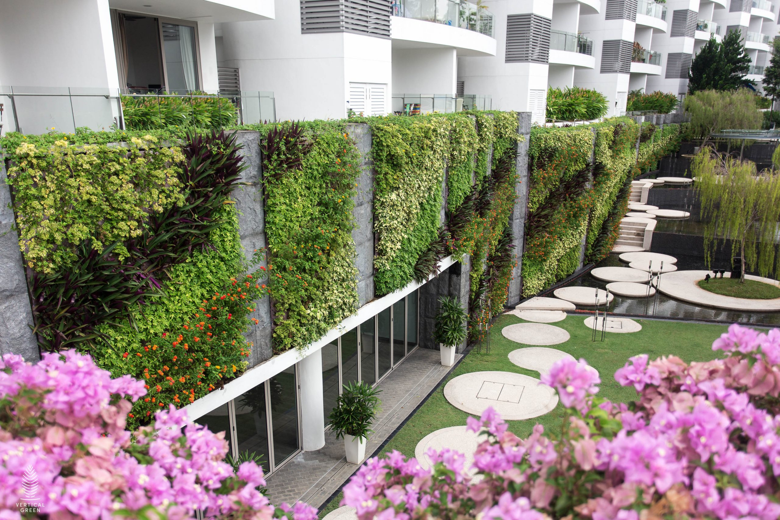 green wall outdoors