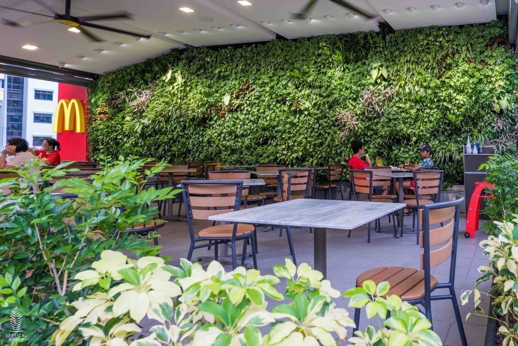 green wall mcdonalds restaurant singapore