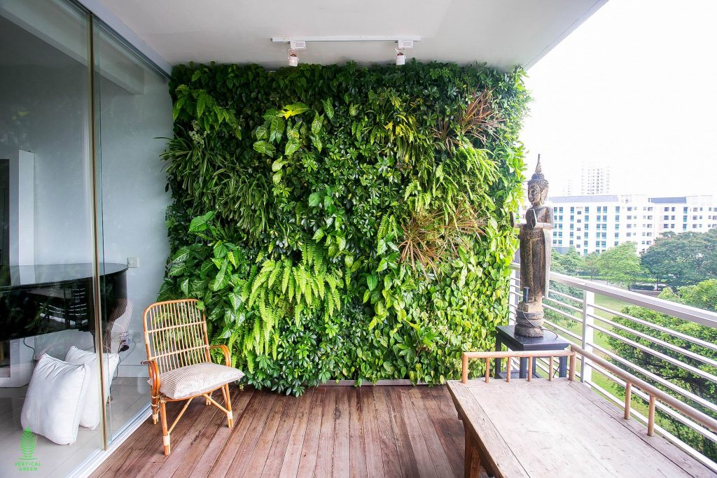 green wall balcony home singapore