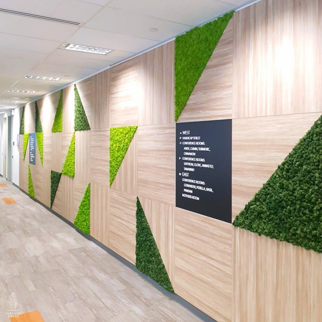ExxonMobil Moss Green Wall Panel Interior Office Singapore