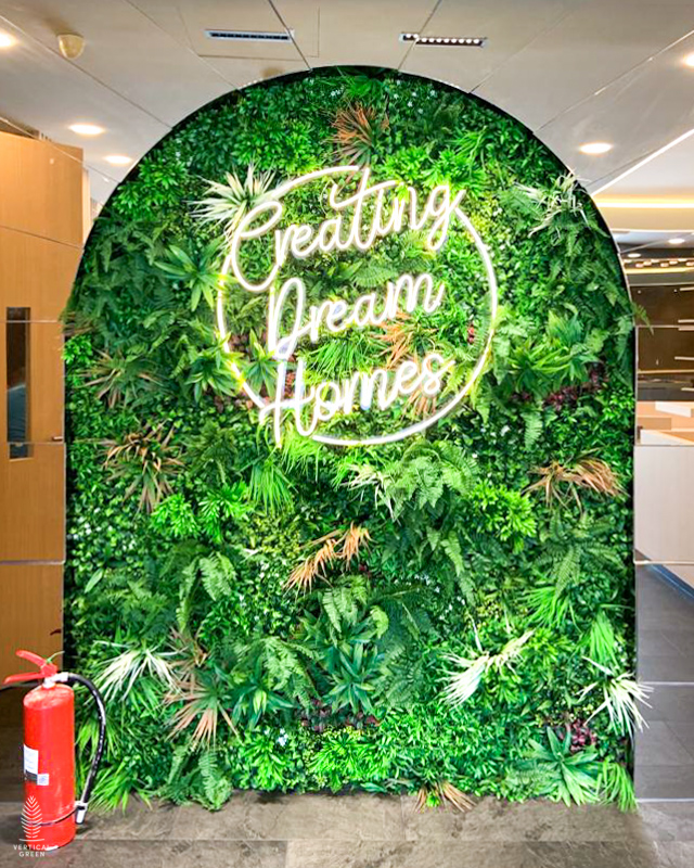 artificial green wall with neon sign interior design singapore
