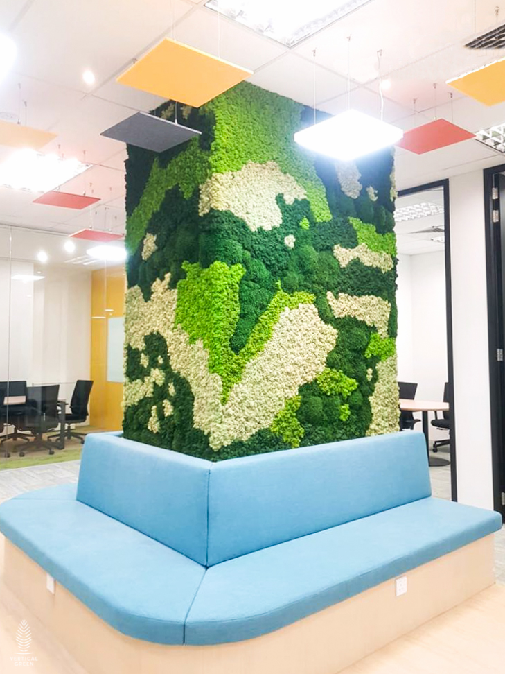 preserved moss wall in office column singapore
