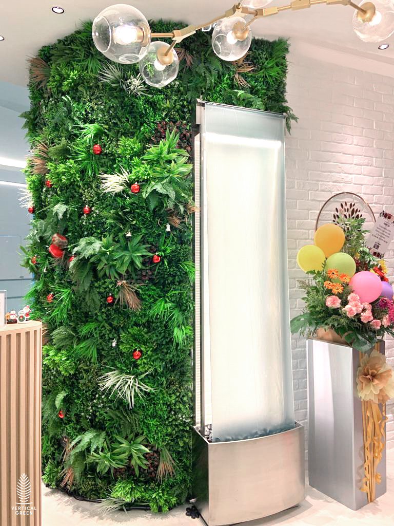 artificial green wall, Ample life holistic wellness centre Singapore