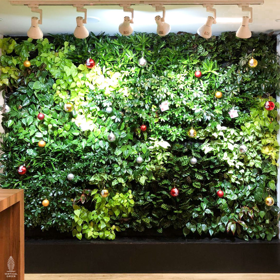 Christmas ornament decoration on green wall office Singapore
