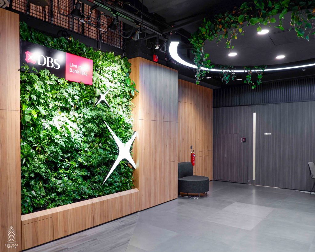 Curved Live green wall indoor office @ DBS Bank Takashimaya branch Singapore